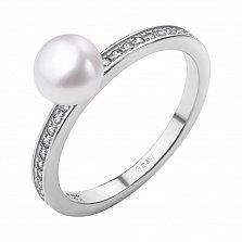 Серебряное кольцо Фабио с жемчугом и дорожкой фианитов по шинке