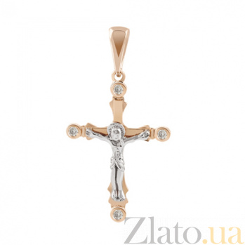 Золотой крестик с бриллиантами Православие KBL--П191/крас/брил