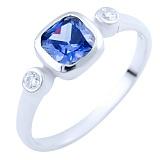 Серебряное кольцо Фатима с синтезированным танзанитом и фианитами