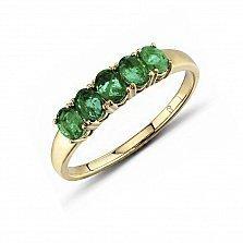 Кольцо из красного золота Эстела с изумрудами
