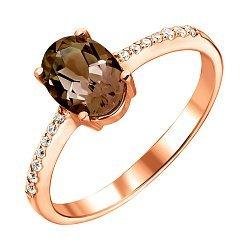 Кольцо из красного золота с раухтопазом и цирконием 000122328