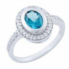 Серебряное кольцо Ольга с топазом лондон и фианитами
