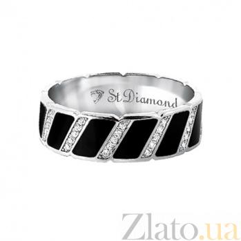 Золотое кольцо с бриллиантами и эмалью Наслаждение и долг 000029656