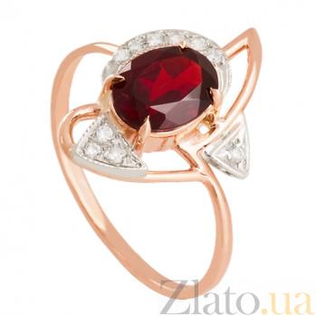 Золотое кольцо с гранатом и фианитами Фея VLN--112-681-3