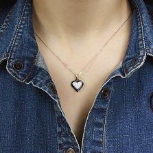 Серебряная подвеска-сердце Мирра с черной керамикой и усыпкой из фианитов