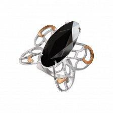 Серебряный перстень Ажурная бабочка с золотыми накладками, черным фианитом и подвижными крыльями