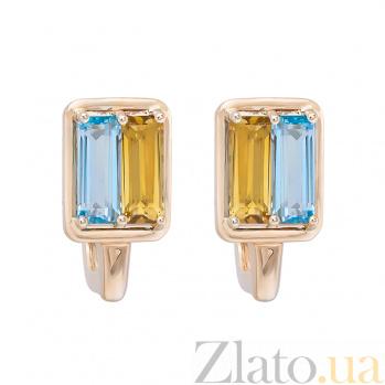 Золотые серьги с топазами и цитринами Символ Украины 1С759-0226