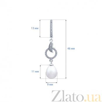 Серебряные серьги с жемчугом Николь AQA--E00720-1PW