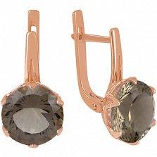 Золотые серьги с раухтопазом Дамира