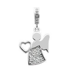 Серебряный шарм-подвес Ангел-хранитель твоего сердца с фианитами 000062194