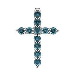 Крестик из белого золота с голубыми бриллиантами 0.66ct 000145352