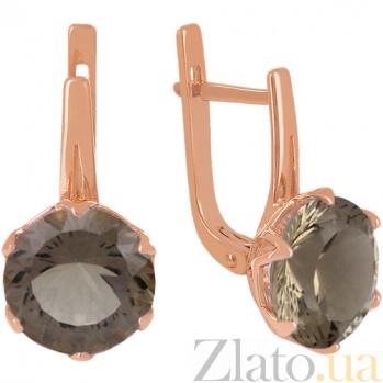 Золотые серьги с раухтопазом Дамира 000024422