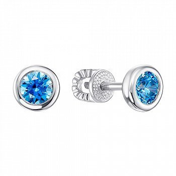 Серебряные серьги-пусеты с голубым цирконием Swarovski 000126846