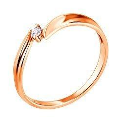 Кольцо из красного золота с бриллиантом 000134925
