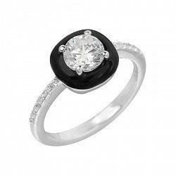 Золотое кольцо в белом цвете с бриллиантами и черной эмалью 000118988