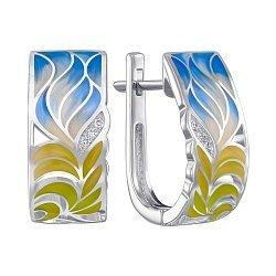 Серьги из серебра с фианитами и эмалью 000147477