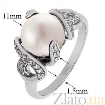 Серебряное кольцо Канвалия с белым жемчугом и фианитами 1686/9р бел жем