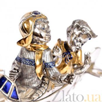 Серебряная композиция Двое в самолете 2-1531