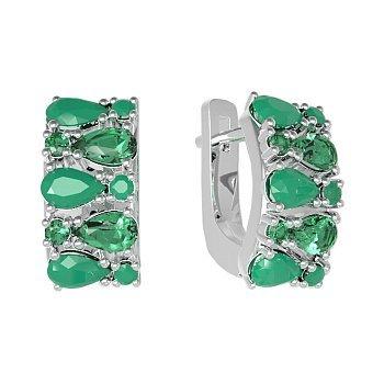 Серебряные серьги Кларисса с зелеными агатом и кварцем 000063586