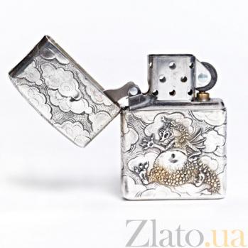 Серебряная зажигалка Дракончик 1410