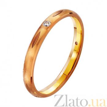 Золотое обручальное кольцо с фианитом  Моя богиня TRF--412901
