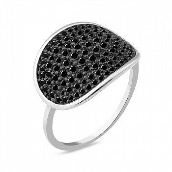 Серебряное кольцо с черными фианитами 000149469