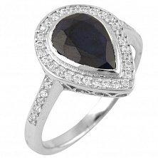 Серебряное кольцо Мирайн с сапфиром и фианитами