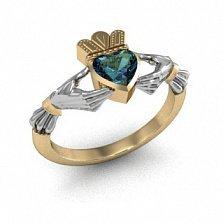 Золотое кладдахское кольцо Царство любви с синтезированным александритом