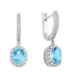 Серебряные серьги-подвески с голубым топазом и фианитами 000117845