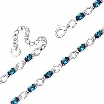 Серебряный браслет с лондон топазами и фианитами 000145362