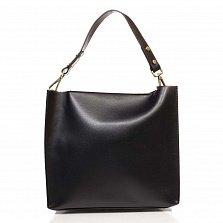 Кожаная деловая сумка Genuine Leather 8910-2 черного цвета на молнии, с металлическими ножками