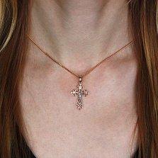 Золотой крестик Ажур в комбинированном цвете металла