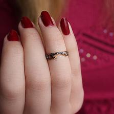 Серебряное кольцо с позолотой и чернением на фалангу Астарта