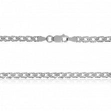 Серебряная цепь Гамильтон с родием, 3 мм