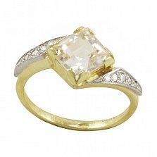 Золотое кольцо Виталина с ассиметричной шинкой, топазом и фианитами
