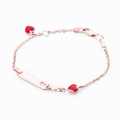 Золотой браслет для гравировки Сердечки с красным полимером