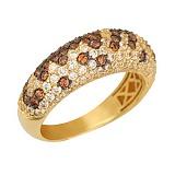 Кольцо из желтого золота с оранжевыми и белыми фианитами Хлоя