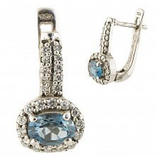 Серебряные серьги Эмма с лондон топазом и фианитами