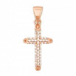 Золотой крестик Антония в красном цвете с фианитами