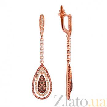 Серьги из красного золота с белыми и оранжевыми фианитами Карина VLT--ТТ2275-2