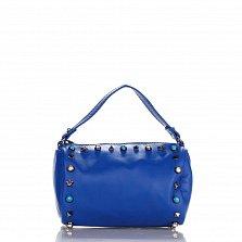 Кожаный клатч Genuine Leather 1519 синего цвета с короткой ручкой и декоративными элементами