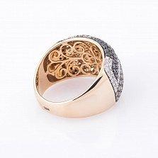 Золотое кольцо Винграна с черными, коньячными и белыми бриллиантами
