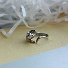 Серебряное разомкнутое кольцо Обнимательный котенок