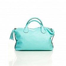 Кожаная сумка на каждый день Genuine Leather 8961 бирюзового цвета с декоративной подвеской-кистью