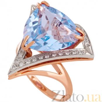 Золотое кольцо с голубым топазом и фианитами Диамара 000030788