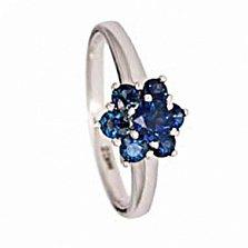 Кольцо из белого золота с сапфиром и бриллиантами Энвер