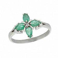 Серебряное кольцо с бриллиантом и изумрудами Грация
