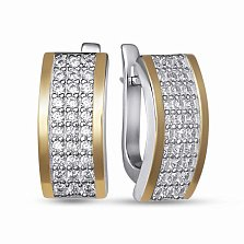 Серебряные серьги Каролина с золотыми накладками и фианитами