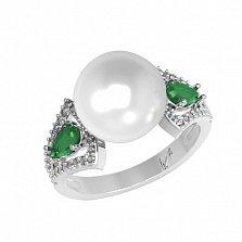 Серебряное кольцо Ума с зеленым кварцем, жемчугом и фианитами