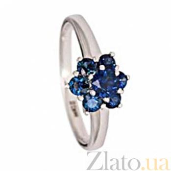 Кольцо из белого золота с сапфиром и бриллиантами Энвер 000030314